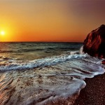 Sea waves at sunset. Work by Katarina Stefanovich, talented nature photographer from Belgrade, Serbia