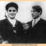 1921 photo of Picasso and Olga