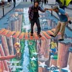 Pillars and height. Realistic 3D Street art and murals by Brazilian artist Eduardo Kobra