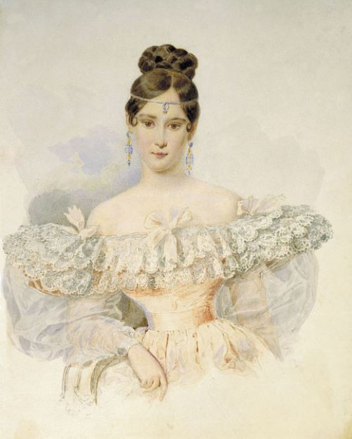 A.P. Briullov. Portrait of N. Pushkina. Watercolors, 1831-1832. Natalia Goncharova wife of Pushkin