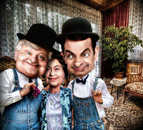 Benny Hill, Queen Elizabeth, Mr. Bean. caricatures by Riccardo Boscolo