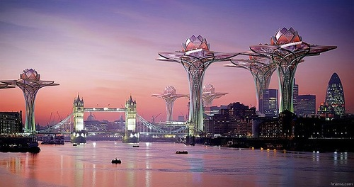 Lotus City sky architecture. City in the sky, project by Bulgarian architect Tsvetan Toshkov