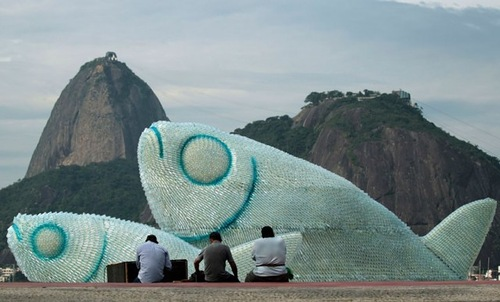 Fish sculptures made from discarded plastic bottles at Botafogo beach in Rio de Janeiro, Brazil