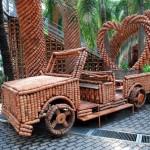Automobile art installation. Garden of pots in Nong Nooch park, Thailand