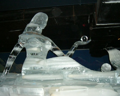 Ice statue of mermaid