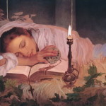 Sleeping at the book. Art nuveau painting by American artist Manuel Nunes