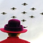 A flyover of Royal Air Force Jaguars in diamond formation on a visit to RAF Coltishall in January 2006 in this memorable image