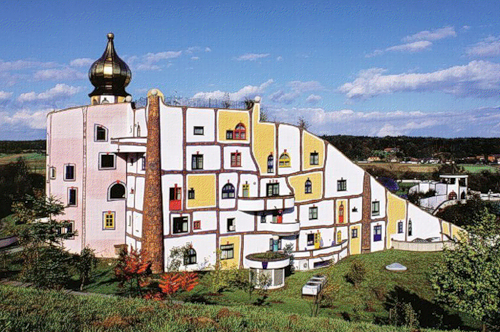 The building in the Thermal Village Rogner-Bad Blumau by Hundertwasser