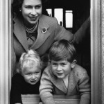 Young queen with her two eldest children, Prince Charles and Princess Anne