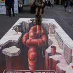 Three-dimensional street art by Dutch artist Leon Keer