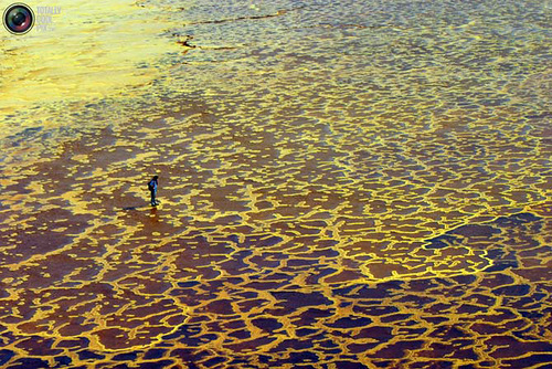 Beautiful and inspirational Yellow world. Tourists on the yellow deposits of sulfur and mineral springs at Dallol volcano