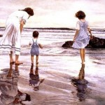 Enjoying the rain. Two girls under umbrella. Realism in paintings by American artist Steve Hanks