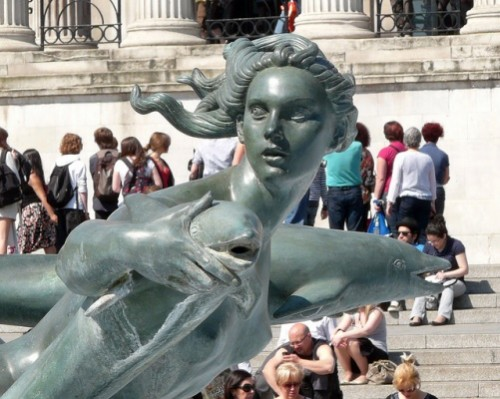 mermaid statue sculpture London England Trafalgar Square