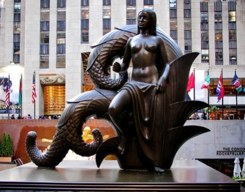 mermaid statue sculpture new york city USA