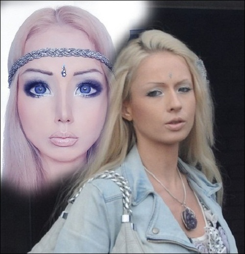 Valeria Lukyanova with makeup & Photoshop and without