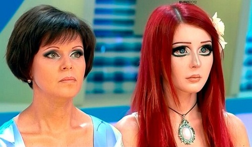 Nastya Shpagina and her mother, on TV show