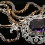 Suspension with natural amethyst and diamonds