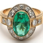 "Gold ring with emerald and diamonds. Zykina knew that ""diamonds are forever"" long before she heard the song from the Bond movie of the same name"