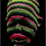Foam and colored pins sculpture by David Mach