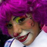 A clown smiles during a pilgrimage to the Virgin of Guadalupe's basilica