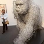 Ape coat hangers and steel sculpture by David Mach