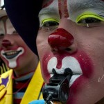 Clowns take part in a pilgrimage to the Virgin of Guadalupe's basilica, Mexico's patron saint, in Mexico City on July 18, 2012. Hundreds of clowns take part in the annual pilgrimage to the sanctuary of the Virgin.