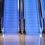 Blue escalator