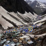 Camp for the pilgrims is set up near the Amarnath cave