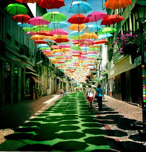 Colorful installation of umbrellas in Agueda, Portugal