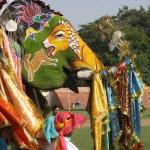 Scene of wildlife painted on Elephant