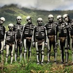 Painted in skeletons African tribal people