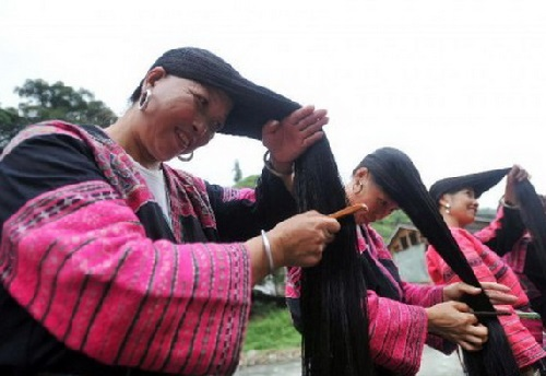 Long haired women of the village Huangluo Yao
