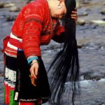 Traditionally, the women of the Chinese village of Huangluo Yao wash their hair in the river