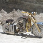 Gorgeous miniature motorcycle from vintage watch parts, made by Dan Tanenbaum, Canada