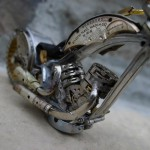 Detail of Miniature motorcycle from vintage watch parts, made by Dan Tanenbaum, Canada