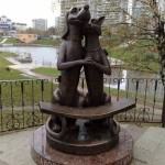 A dog and a cat monument, erected in the year of family in Russia