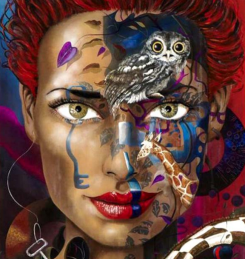 Female image in painting by Peruvian artist Alberto Loli Narvaes