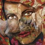 Giraffes and rhino. Female image in painting by Peruvian artist Alberto Loli Narvaes