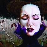 Miss autumn. Female image in painting by Peruvian artist Alberto Loli Narvaes