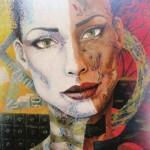 Digital world. Female portrait. Painting by Peruvian artist Alberto Loli Narvaes