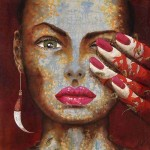 Red inspiration. Female image in painting by Peruvian artist Alberto Loli Narvaes