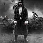 "Gothic man with crows. Titled ""c_r_o_w_m_a_n_by_j_u_d_a_s"". Digital art by British artist Paul"