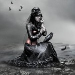 "Gorgeous Gothic girl with a black crow. The image titled ""l_o_y_a_l_t_y_by_j_u_d_a_s"". Digital art by British artist Paul"