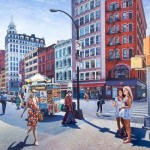Sunlit modern city street
