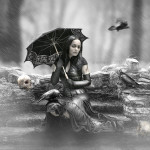 A girl with an umbrella, reign_over_me_by_j_u_d_a_s. Digital art by British artist Paul
