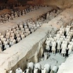 Current estimates are that in the three pits containing the Terracotta Army there were over 8,000 soldiers, 130 chariots with 520 horses and 150 cavalry horses