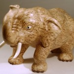 Decorative sculpture – Elephant. Karelian birch. Wood carving by Petrozavodsk based artist Andrew Skorobogatyi