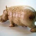 Hippo, Hand carving. Karelian birch sculpture by Russian artist Andrew Skorobogatyi