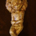 Folk tales inspired wood carving. Material – Karelian birch. Miniature sculpture by Russian artist Andrew Skorobogatyi