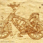 Drawing. Medieval Knight's steel bike